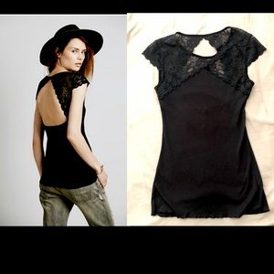 Free people sugar and spice cami black lace top